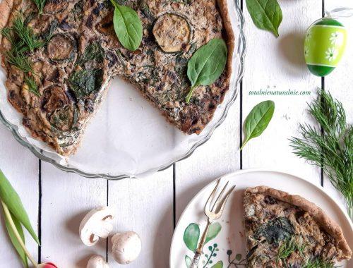 Quiche z pieczarkami i szpinakiem - przepis wegański i bezglutenowy