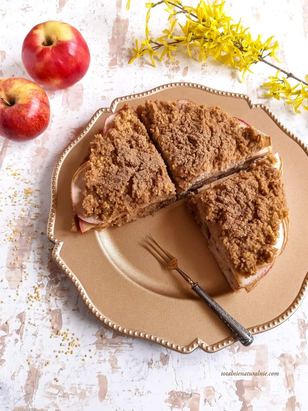 ciasto z kaszy jaglanej z jabłkami wegańskie i bez glutenu